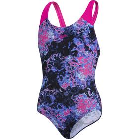 speedo Allover Splashback Swimsuit Girls, negro/Multicolor
